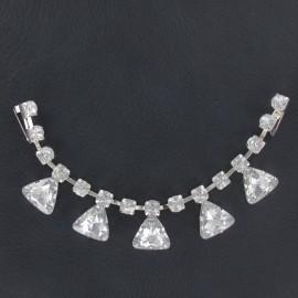 Rhinestones Collar jewels iron-on applique - silver