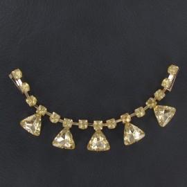 Bijoux de col triangle strass or