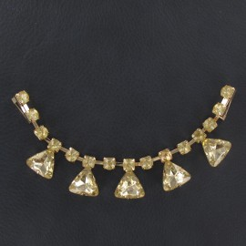 Rhinestones Collar jewels iron-on applique - golden