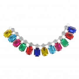 Precious stones and rhinestones Collar jewels iron-on applique - multicolored