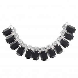 Precious stones and rhinestones Collar jewels iron-on applique - black