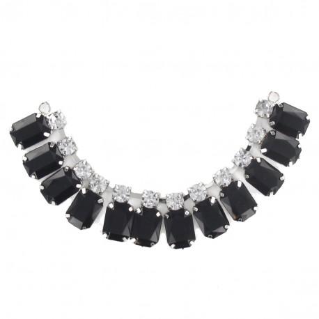 Precious stones and rhinestones Collar jewels iron-on applique - black