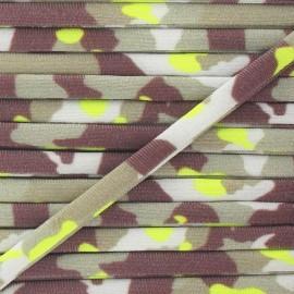 Spaghetti Elastic Cord 5mm, Camouflage - Fluo Yellow