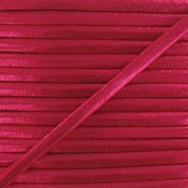 Cordon Spaghetti élastique aspect lurex rouge 5mm