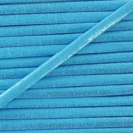 Cordon Spaghetti élastique aspect lurex bleu 5mm