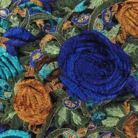 Guipure Bollywood Roses velours bleu x 50cm