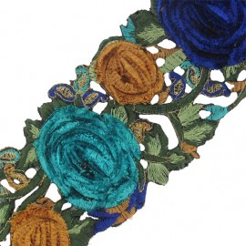 Guipure India Roses velours lagon /  bleu roy x 50cm