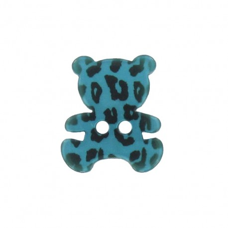 Polyester button, Teddy bear - leopard print turquoise