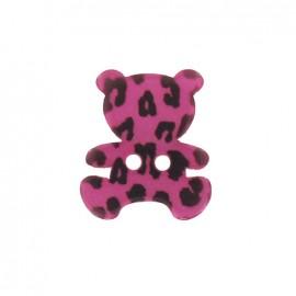 Bouton Polyester Nounours Imprimé léopard fuchsia