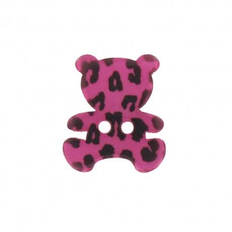 Polyester button, Teddy bear - leopard print fuchsia