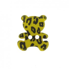 Bouton Polyester Nounours Imprimé léopard jaune