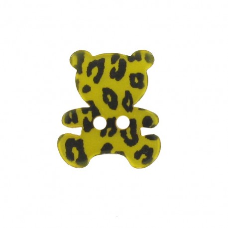 Polyester button, Teddy bear - leopard print yellow