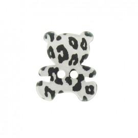 Bouton Polyester Nounours Imprimé léopard argent