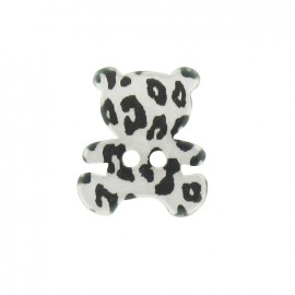 Polyester button, Teddy bear - leopard print silver