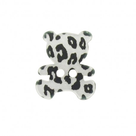 Polyester button, Teddy bear - leopard print silver