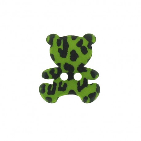 Polyester button, Teddy bear - leopard print green