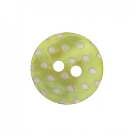 Mother-of-Pearl button, white dots engraved - lime