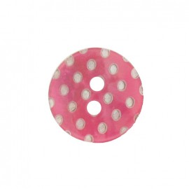 Mother-of-Pearl button, white dots engraved - pink