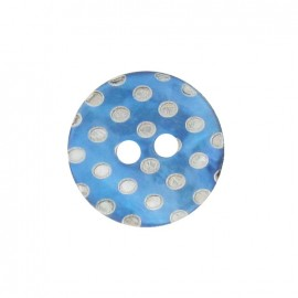 Mother-of-Pearl button, white dots engraved - turquoise