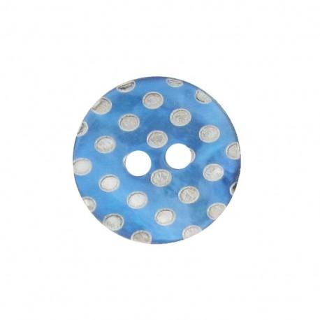 Bouton Nacre pois gravé turquoise