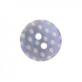 Mother-of-Pearl button, white dots engraved - mauve
