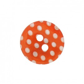 Mother-of-Pearl button, white dots engraved - orange