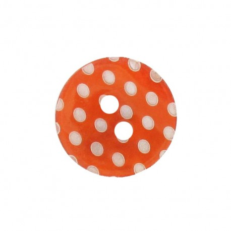 Bouton Nacre pois gravé orange