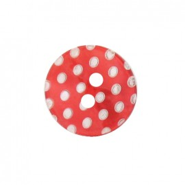 Mother-of-Pearl button, white dots engraved - red