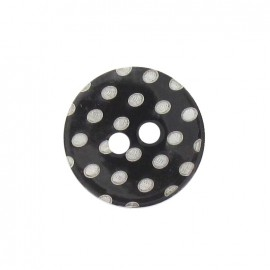 Mother-of-Pearl button, white dots engraved - black