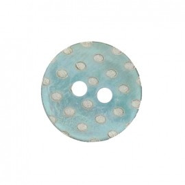 Mother-of-Pearl button, white dots engraved - sea green