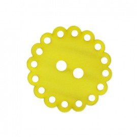 Polyester button, Hemstitched Flower - yellow