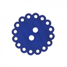 Polyester button, Hemstitched Flower - midnight blue