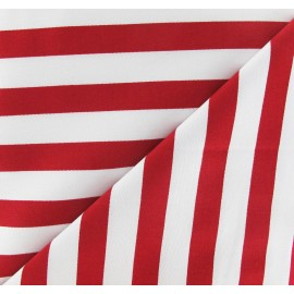 Tissu Gabardine Lycra rayures rouges sur fond blanc x 10cm