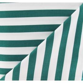 Tissu Gabardine Lycra rayures vertes sur fond blanc x 10cm