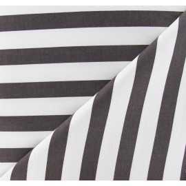 ♥ Coupon 20 cm X 140 cm ♥ Lycra Gabardine Fabric - Brown Stripes / White