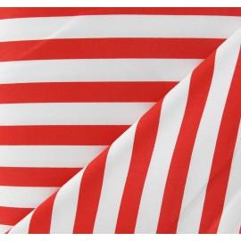 Tissu Gabardine Lycra rayures rouges vif sur fond blanc x 10cm