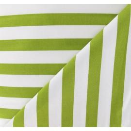 Tissu Gabardine Lycra rayures vertes mousse sur fond blanc x 10cm