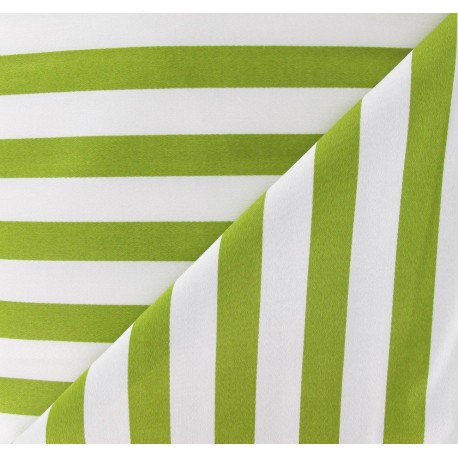 Lycra Gabardine Fabric - Moss Green Stripes / White x 10cm