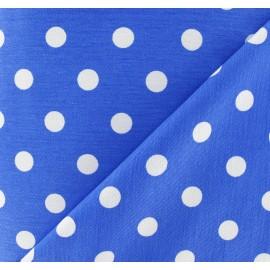 Tissu Gabardine Lycra pois blancs sur fond bleu x 10cm