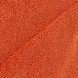 Tissu Doudou brique x 10 cm