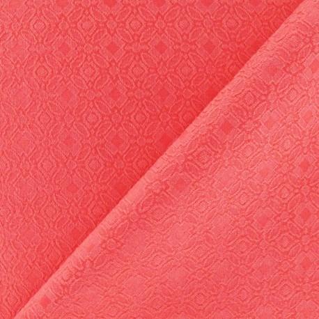Heavy Jacquard Lining Fabric - Coral x 10cm