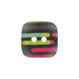 Polyester button, square, translucent stripes - multicolored