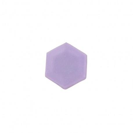 Polyester button, mini hexagone - mauve