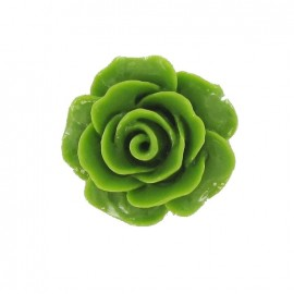 Bouton polyester belle rose vert mousse