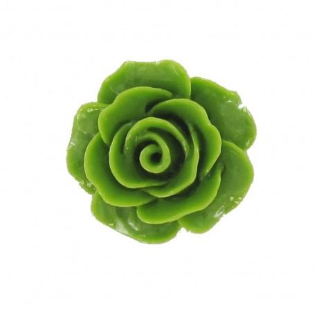 Bouton polyester belle rose vert mousse