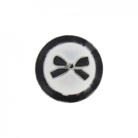 Metal button, bow, two-tone - black