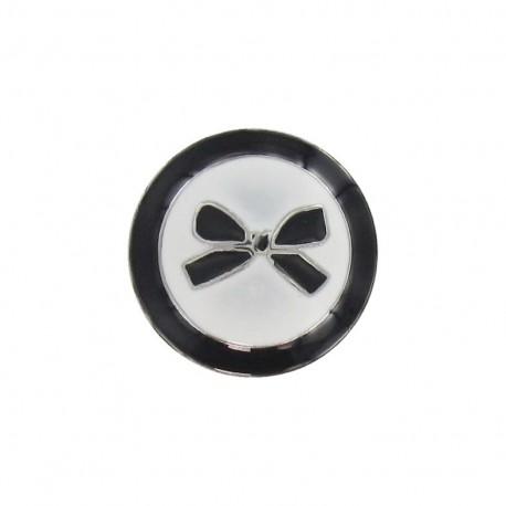 Bouton métal noeud bicolore noir