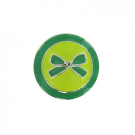 Metal button, bow, two-tone - green
