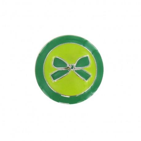 Bouton métal noeud bicolore vert