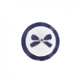 Bouton métal noeud bicolore bleu marine